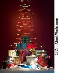 colorful twirly shaped christmas light tree