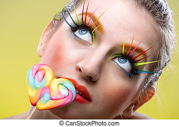 Colorful twisted lollipop and colorful extreme fashion...