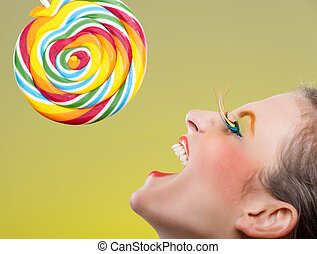 Colorful twisted lollipop and colorful fashion makeup