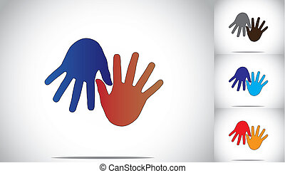 colorful two human hands supporting family friends concept art. blue and red colored human hands helping each other in friendship and relationship - collection illustration set