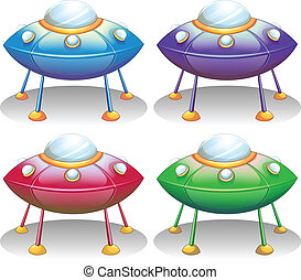 Colorful UFO saucers - Illustration of the colorful UFO...