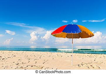 umbrella and beautiful sand beach