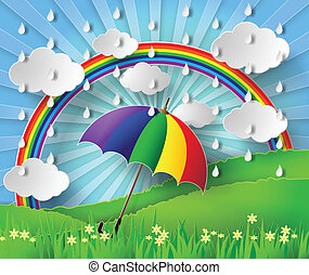 Colorful umbrella in the rain with rainbow.