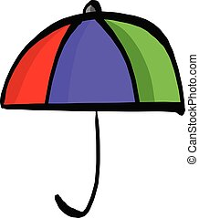 colorful umbrella vector illustration sketch hand drawn with black lines isolated on white background