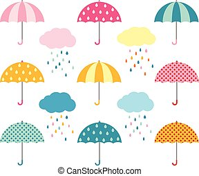 Colorful umbrellas and clouds