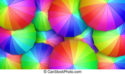Colorful umbrellas looping 3D animation