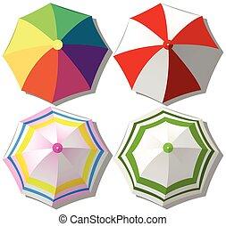 Colorful umbrellas on white