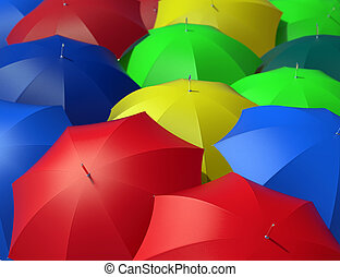 colorful umbrellas - group of colorful umbrellas seen from...