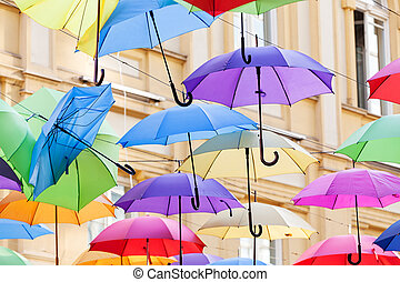 colorful umbrellas - street decoration with colorful open ...