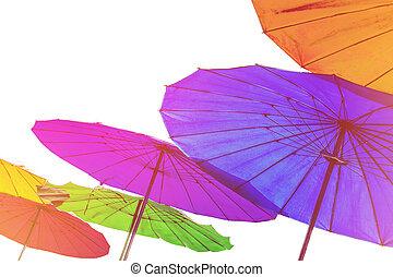 Colorful umbrellas, vintage tone