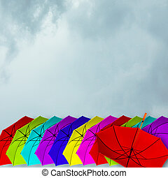 Colorful Umrellas Lineup Background - Lineup of colorful...