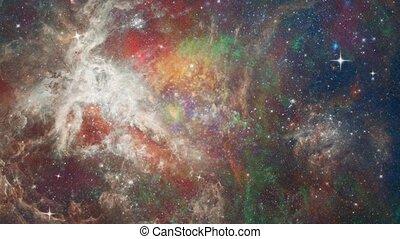 Colorful Universe. Bright stars in vivid space