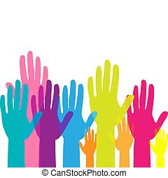 Colorful up hands. Raised hands volunteering. team work concept. Vector illustration