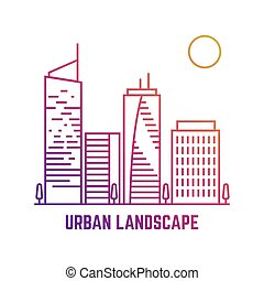Colorful urban landscape in line vector style