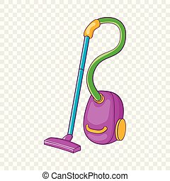 Colorful vacuum cleaner icon, cartoon style