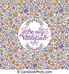 Valentines card with hearts,butterflies,flowers