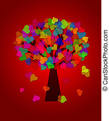 Colorful Valentines Day Hearts Tree Red Background