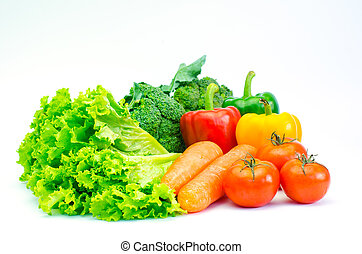 Colorful variety of vegetables for a healthy diet on a white background