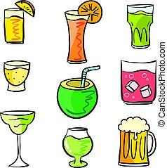 Colorful various drink doodle set