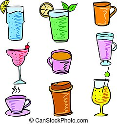 Colorful various drink set doodles
