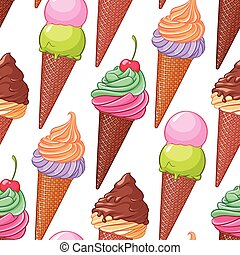 Colorful various ice cream cones seamless vector pattern.