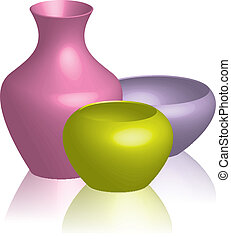 colorful vases  - Vector illustration of colorful vases