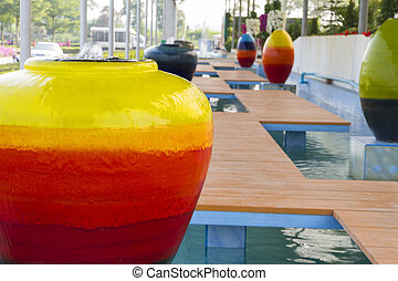 Colorful vases in the garden