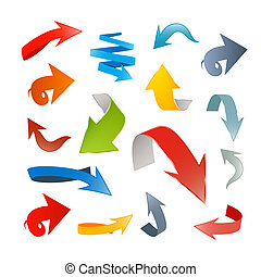 Colorful Vector 3d Arrows Set