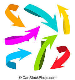 Colorful Vector Arrows on White Background