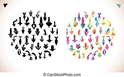 Colorful vector arrows set