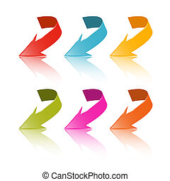 Colorful Vector Arrows Set Isolated on White Background