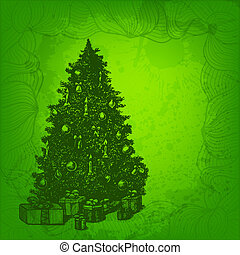 Colorful vector background. Christmas tree and presents