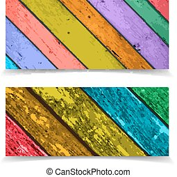 Colorful Vector Banner or Header Design with Abstract Wooden Pla