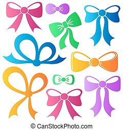 Colorful vector bows - Set of different decorative colorful...