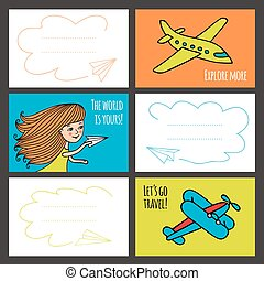 Colorful vector card baby girl and planes.