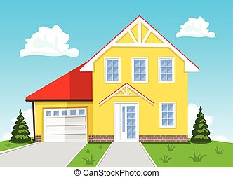 Colorful vector cartoon house on blue background. Illustration