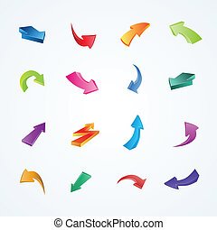 Colorful vector collection of 3d arrows.