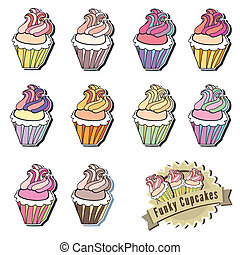 Colorful Vector Cupcake Collection