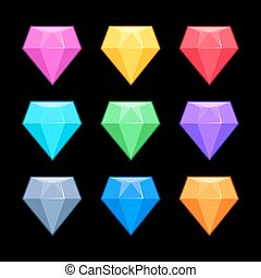 Colorful vector diamonds isolated black, game elements