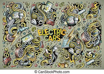 Colorful vector doodle cartoon set of Electric cars designs