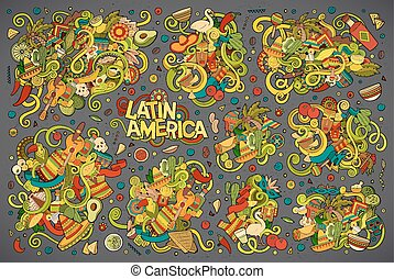 Colorful vector Doodle Latin American designs - Vector hand...