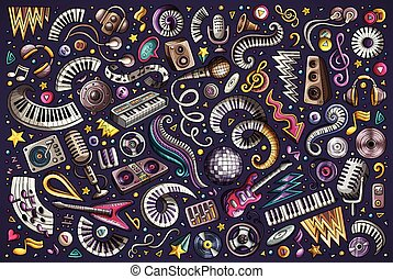 Colorful vector doodles cartoon set of disco music objects