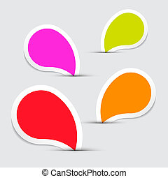 Colorful Vector Empty Stickers - Labels Set on Grey Background
