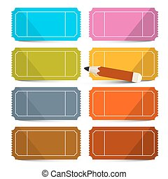 Colorful Vector Empty Tickets Set with Pencil Illustration Isolated on White Background