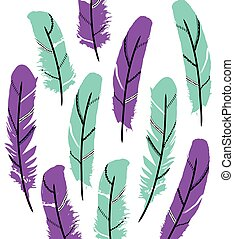Colorful vector feathers