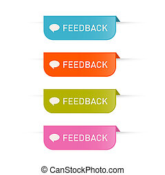 Colorful Vector Feedback Icons Isolated on White Background