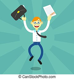 vector flat art cartoon illustration of a happy office...