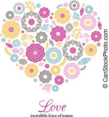 Colorful vector flowers arranged in a shape of heart. Wildflowers vector wreath, Perfect for Valentine's Day cards, invitation, designs.