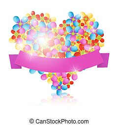 Colorful Vector Flowers Heart with Pink Ribbon Isolated on White Background