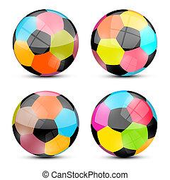Colorful Vector Football Balls Set Illustration
